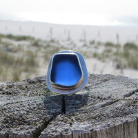 Sea Sapphire Sterling Silver Sea Glass Ring