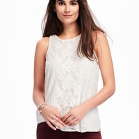 Embroidered-Mesh Tank for Women | Old Navy