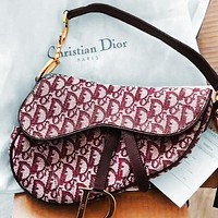 Onewel Dior Multi-print saddle bag saddle cross-body portable wide strap Red