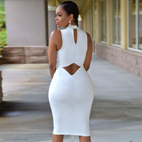 Solid Open Back Scoop Sexy Club Knee-length Dress