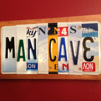 MAN CAVE Custom Recycled License Plate Art Sign