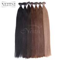 "Neitsi 3A 20"" 50s 100s Nano Ring Hair Extensions 100% Indian Virgin Remy Human Hair Straight Loop Hair Piece Red Blonde 13Colors"