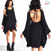 Sexy V-Neck Bat Sleeve Plus Size Women Clothing Fashion Loose Elegant  Backless Cut Out Dress Poncho Mini Party Dresses