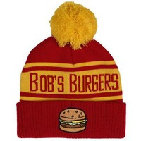 Bob's Burgers Burger Logo Licensed Adult Cuffed Pom Beanie Hat - Red/Yellow