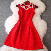 Red Neck Beaded Sleeveless Mini Dress
