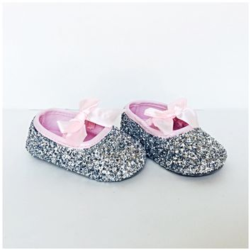Silver Glitter Baby Shoes, Pink Flower Girl Shoes