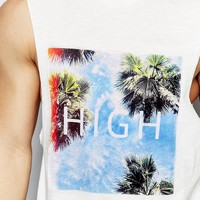 ASOS Sleeveless T-Shirt With High Print And Dropped Armhole