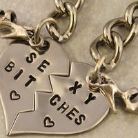 Sexy Bitches Keychain- BFF Gift,  Best Bitches Split Heart Key Chain - Hand Stamped Best Friend Keychains -  Stainless Steel