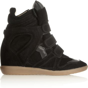 Isabel Marant - The Bekett leather and suede concealed wedge sneakers