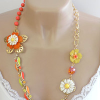 Orange and Yellow Vintage Recycled Jewelry Necklace Handcrafted Flower Gold Long