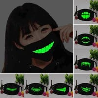 Glow in the Dark Black Mouth Masks