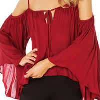 Red Off-Shoulder Chiffon Batwing Blouse