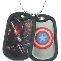 Marvel Captain America Logo Double Dog Tag 22 Chain Necklace