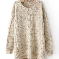 Floral Inlay Pattern Knitted Long Back Sweater