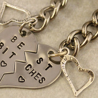 Best Bitches Keychain - BFF Gift, Best Bitches Split Heart Key Chain - Hand Stamped Best Friend Keychains - Stainless Steel