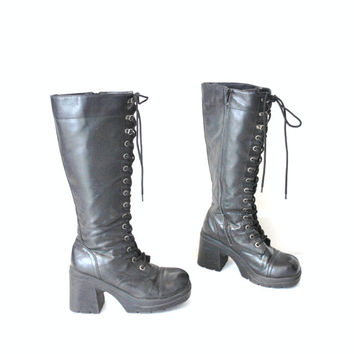 size 8.5 PLATFORM lace up boots vintage 90s CYBER goth knee high TALL club kid boots