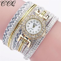 2017 CCQ Brand Fashion Luxury Women Rhinestone Bracelet Watch Ladies Quartz Watch Casual Women Wrist Watch Relogio Feminino C124