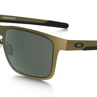 Oakley Holbrook Metal Sunglasses Gold Satin Frame Dark Gray Lens-OO4123-0855