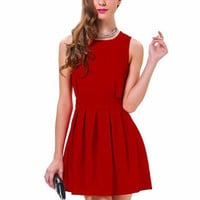 Red High Neck Cut-Out Skater Mini Dress