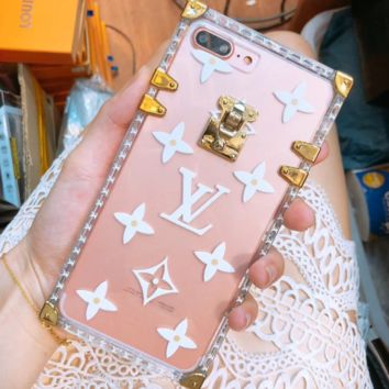 Louis Vuitton iphone transparent fashion mobile LV iphone shell metal printing silicone drop phone case