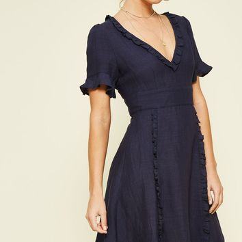 Navy Linen Ruffle Dress