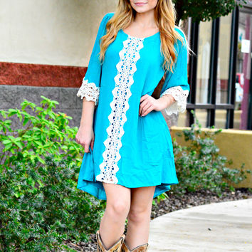 AT FIRST SIGHT DRESS IN TEAL