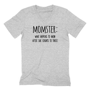 Momster what happens to mom after she counts V Neck T Shirt