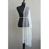 Knit wedding shawl / wedding stole, bridal shawl in off-white color