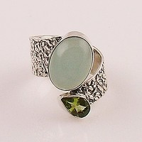 Aqua Chalcedony & Peridot Sterling Silver Adjustable Ring