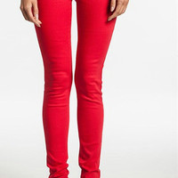 Mid Rise Skinny Jeans, Red
