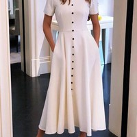 New White Buttons Pockets High Neck Fashion Midi Dress