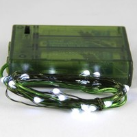 Rtgs Micro LED 20 Cold White Color Lights Battery Operated on 7ft Long Dark Green Color Ultra Thin