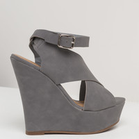 Talk About X Faux Leather Wedges