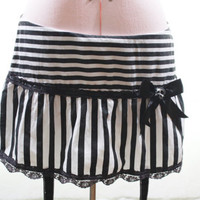 Altered DIY Black and White Stripped Goth Punk Mini Skirt Size Juniors L