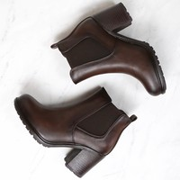 Final Sale - Chunky Heel Vegan Leather Chelsea Boots in Dark Brown