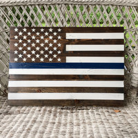 24x17 Thin Blue Line American Flag on Wood; Pallet Wood Reclaimed Flag; Police Flag Gift
