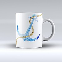 The Painted Blue Summer Anchor ink-Fuzed Ceramic Coffee Mug