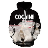 New Autumn Winter Fashion Men Women Hoodies With Cap Print Cocaine Bag Couple Hooded Hoody 3d Sweatshirts Pullovers Top