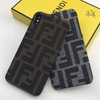 Fendi Tide brand double F letter men and women anti-fall iPhoneXS Max phone case