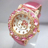 Women's High Quality Leather Hello Kitty Watch Children Dress Fashion Crystal Wrist Watch