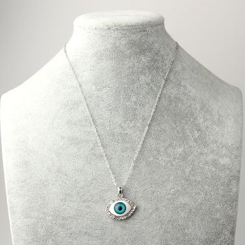 1PC European Fashion Punk Evil Eye Pendant Necklaces Jewelry For Womens Gold Silver Plated Crystal Link Chain Necklace Collar