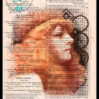 Auburn Beauty 1895 Pencil Drawing Beautifully Upcycled Vintage Dictionary Page Book Art Print