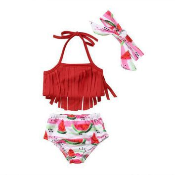 Sweet Tassel Fruit Print Bowknot Toddler Girl Bathing Suits