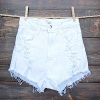 high waisted shorts - distressed white