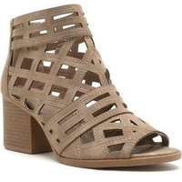 Cut Out Peep Toe Booties - Stone