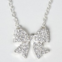 Crystal Embellished Bow Pendant Necklace – Claire's