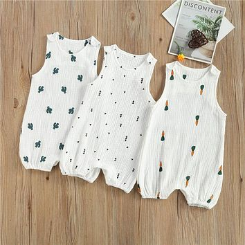 Baby Boys Girls Romper Summer Toddler Newborn Infant Sleeveless Cactus Print Cotton Linen Jumpsuits Playsuits Overalls Outfits
