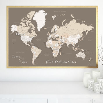 Custom quote world map print - neutrals world map with cities. Color combination: earth tones
