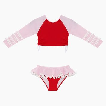 Pom Pom Rashguard Set (Kids) - Red & Pink