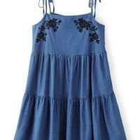 Dark Blue Self Tie Strap Embroidery Ruffle Hem Dress